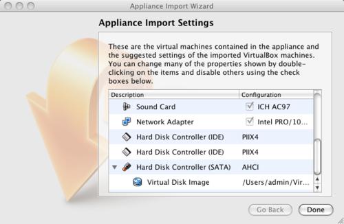 Appliance Import Settings Screenshot